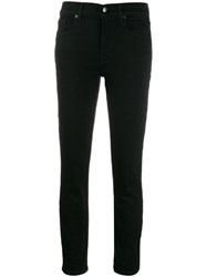7 For All Mankind Mid Rise Skinny Jeans Black
