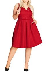 City Chic Plus Size Women's Big Bow Fit And Flare Dress