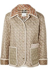 Burberry Printed Quilted Silk Faille Jacket Beige