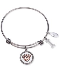 Unwritten Love Is A Four Legged Word Charm Adjustable Bangle Bracelet In Two Tone Stainless Steel