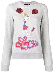 Love Moschino Cheerleader Print Sweatshirt Grey