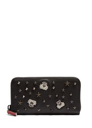 Christian Louboutin Panettone Embellished Zip Around Leather Wallet Black Multi