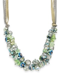 C.A.K.E. By Ali Khan Silver Tone Bead Cluster And Chain Ribbon Necklace