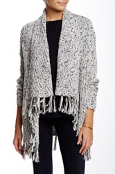 Chaus Long Sleeve Cardigan With Fringe Gray