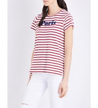 Sundry Paris Avec Toi Cotton Jersey T Shirt White Cherry