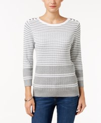 Karen Scott Embellished Striped Sweater Only At Macy's Smoke Grey Combo