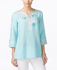 Charter Club Seashell Embroidered Linen Tunic Only At Macy's Angel Blue