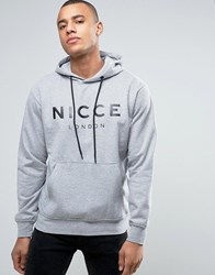 Nicce London Hoodie In Grey With Large Logo Grey