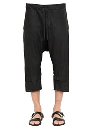Isabel Benenato Blistered Leather Cropped Sarouel Pants