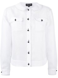 Giorgio Armani Button Up Longsleeve Shirt Women Polyester 44 White
