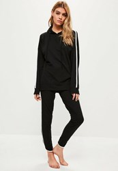 Missguided Black Striped Hoodie And Joggers Set