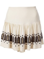 Figue 'Chachani' Embroidered Pleated Skirt Nude And Neutrals