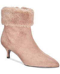 Impo Esra Faux Fur Cuff Pointed Toe Booties Women's Shoes Stucco