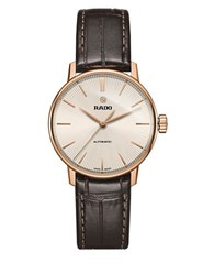 Rado Coupole Classic Pvd Rose Goldplated Stainless Steel And Leather Strap Automatic Watch Dark Brown