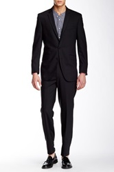 Ben Sherman Kings Slim Fit Sharkskin Wool Suit Black