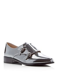 French Connection Lorinda Metallic Double Monk Strap Oxfords Bright Pewter