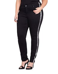 Addition Elle Love And Legend Plus Size Tuxedo Stripe Skinny Jeans Black