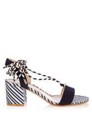Gianvito Rossi Striped Block Heel Sandals Navy Stripe