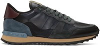 Valentino Navy Camouflage Rockrunner Sneakers