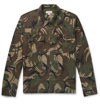 J.Crew Camouflage Print Cotton Canvas Shirt Jacket Army Green