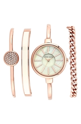 Anne Klein Round Watch And Bangle Set 32Mm Rose Gold Ivory