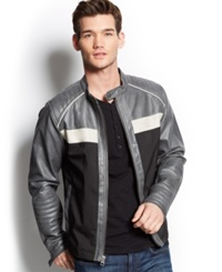 Guess Colorblocked Faux Leather Jacket Jet Black