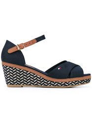 Tommy Hilfiger Patterned Wedge Sandals Women Tactel Rubber 38 Blue