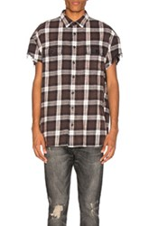 R 13 R13 Oversized Cut Off Shirt In Black Checkered And Plaid Black Checkered And Plaid