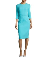 Michael Kors Spring Floral Sleeveless Sheath Dress Turquoise