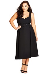 City Chic Belted Sweetheart Neckline Tea Length Dress Plus Size Black