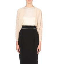 Max Mara Elegante Pleated Chiffon Bolero Powder