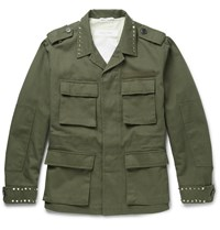 Valentino Studded Cotton Canvas Field Jacket Green