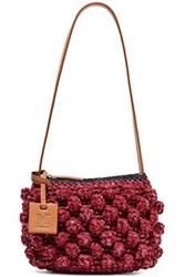 M Missoni Woman Leather Trimmed Crocheted Cotton Blend And Raffia Shoulder Bag Burgundy