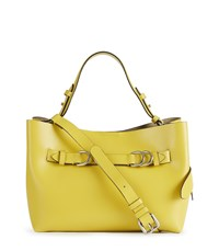 Reiss Bleecker Mini Structured Leather Tote Bag In Yellow