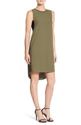 Trouve Women's Banded High Low Shift Dress Olive Burnt