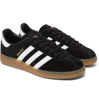 Adidas Originals Munchen Faux Leather Trimmed Suede Sneakers Black
