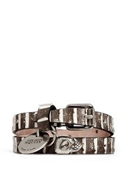 Alexander Mcqueen Skull Charm Double Wrap Python Leather Bracelet Neutral Animal Print