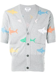 Thom Browne Shark Intarsia Cardigan Men Cotton 1 Grey