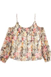 Elizabeth And James Maylin Off The Shoulder Floral Print Silk Chiffon Top Multi