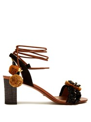 Dolce And Gabbana Flower Applique Embellished Raffia Sandals Black Brown