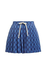 Gucci Gg Pleated Technical Jersey Shorts Light Blue
