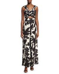 Johanna Ortiz Mangle Palm Print Crop Top Black White Black White