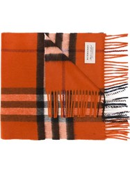 Burberry Checked Scarf Yellow And Orange