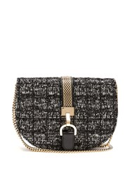 Lanvin Lien Boucle Tweed Leather Cross Body Bag Black White