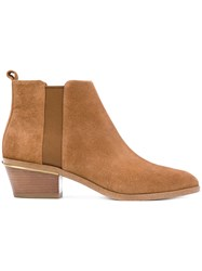 Michael Michael Kors Ankle Length Boots Calf Leather Polyurethane Calf Suede Brown