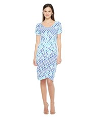 Hatley Ruched Dress Sunbleached Ikat Clearwater Women's Dress Blue