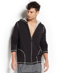2Xist 2 X Ist Men's Loungewear Two Tone Full Zip Hoodie Black Heather