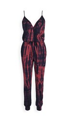 Sundry Wrap Front Spaghetti Strap Jumpsuit Navy Sailor Red