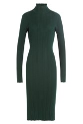 Nina Ricci Wool Silk Turtleneck Dress Green