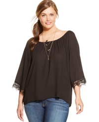 Ing Plus Size Lace Trim Relaxed Blouse